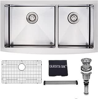 Calacatta Kitchen Sink 36-inch Stainless Steel 304 16 Gauge Handmade Double Bowl 60/40 Farm House Apron Front Kitchen Sink w/Drain Strainer Grid & Dish Cloth, FM3620BL