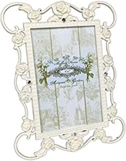 Enchante Accessories Shabby Chic Decorative Antiqued Rose Garden Glossy Ivory Metal Picture Frame Table Top Photo Frames Pictures Display 4 by 6