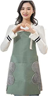 2 PACKS Japanese Style Kitchen Apron, Erasable Hand Coral Fleece Fabric and Waterproof Oxford Cloth Striped Bib for Home C...