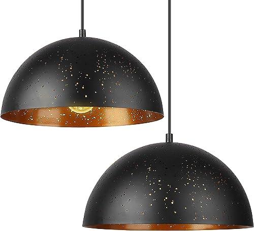 Deckey Abat Jour Suspension Design,Lustre Noir de 30 cm Style Simple avec des Trous, Lot de 2 Suspensions Vintage, Lu...