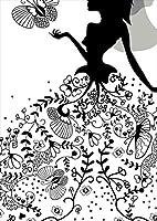igsticker ポスター ウォールステッカー シール式ステッカー 飾り 515×728㎜ B2 写真 フォト 壁 インテリア おしゃれ 剥がせる wall sticker poster 009511 人物 フラワー 蝶 モノクロ