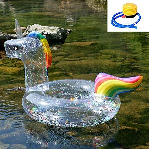 SXC Flotador Inflable Gigante para Piscinas Flotador para Piscinas Unicornio de con Brillo en el Interior, Juguetes de Playa, Adecuado para niños y Adultos (90cm)