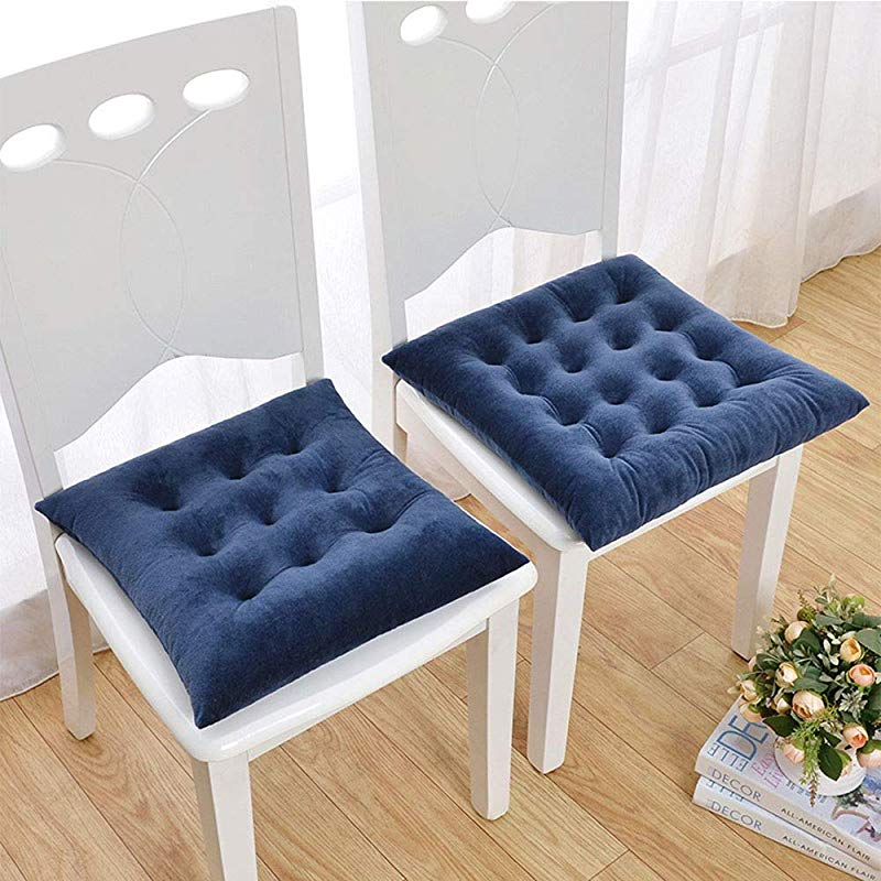 ESTELLEF Cushion Crystal Velvet Chair Pads Nonslip Back Seat Cover Thick Sofa Cushion Color Royal Blue Size 15 7x15 7in