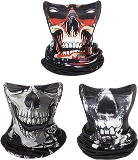 Skull Outdoor Face Neck Gaiters, Sun Protection 3 pcs Scarf Bandana Headbands for Men& Women Motorcycle Cycling Fishing Ri...