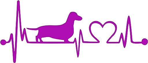 Bluegrass Decals Dachshund Heartbeat Lifeline Monitor Dog Decal Sticker (Hot Pink, 7.5)