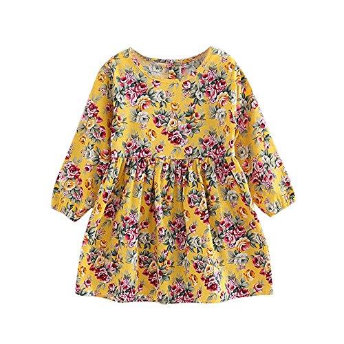 Robe pour Bébé Filles,BUKINIE Robe Fille Mode Vetement Bebe Fille Printemps Eté Robe de soirée décontractées à Fleurs Imprimé Floral Vintage Pincesse (Jaune,8-9 Ans)