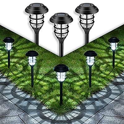 GIGALUMI Solar Pathway Lights Outdoor, 8 Pcs Solar Powered Yard Lights, Waterproof Led Solar Landscape Lights for Yard, Lawn, Patio, Garden, Path, Walkway or Driveway?Cold White?.