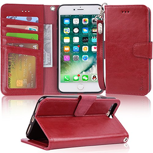 Arae Case for iPhone 7 Plus/iPhone 8 Plus, Premium PU Leather Wallet Case with Kickstand and Flip Cover for iPhone 7 Plus (2016) / iPhone 8 Plus (2017) 5.5 inch - Wine red