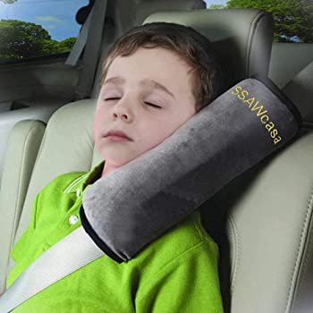 SSAWcasa Seat Belt Pillow for Kids,Car Seat Belt Cover,Vehicle Shoulder Pads,Safety Belt Protector Cushion,Plush Soft Auto Seat Strap Headrest Neck Support Seatbelt Pillow for Children Baby (Gray)