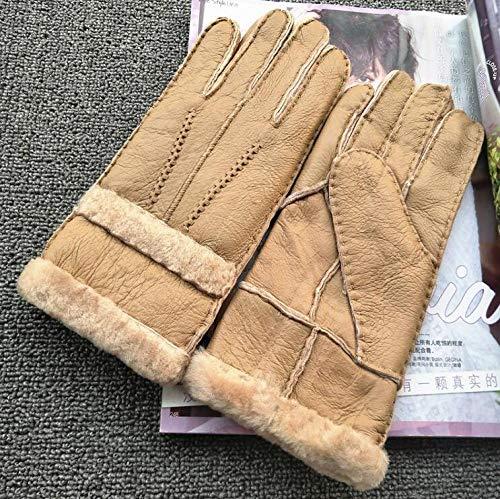 Frauen Herbst und Winter verdicken warme Wolle heiß gefütterte Handschuhe für Frauen One Piece Natural Sheepskin Leather Fur Handschuhe Drive @ R573 Khaki