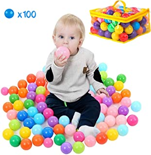PigPigPen Baby Plastic Balls for Ball Pit, Kids Play Balls, Ideal for Baby or Toddler Ball Pit, Kiddies Pool, Indoor Playpen & Parties, Non Toxic, No Sharp Edges (100 Ball Pit Balls)
