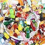 MOPOIN 80 botellas de vino de resina, casa de muñecas, miniatura, cerveza, accesorios para casa de muñecas, mini botellas de zumo, coloridas, decoración de mesa de comedor (patrón aleatorio)