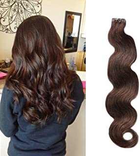 Body Wave Tape in Hair Extensions Remy Human Hair Dark Brown Curly Glue in Extensions Seamless Skin Wefts 18