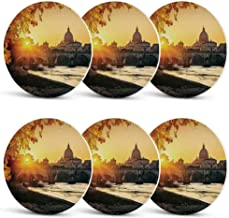 Fall Funny Coasters,Sunset at Tiber River St Peter Rome City Italy Basilica Touristic Ancient for Wine Glasses Cold DrinksSet of 6