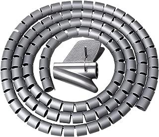 shiyi 2Mスパイラルスリーブ, ケーブルカバー整理収納 チューブ ケーブル まとめ 配線 隠し電気コード カバー 犬と猫 コード 噛む 防止(グレー)