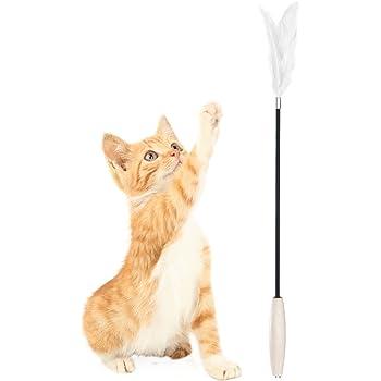 Pidan Studio Cat Feather Teaser Wand - Interactive Fun 100% Cat Kitten Friendly Superior Quality Premium Goose Feather