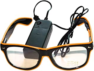 Enerhu LED Light Up Glasses Glowing Eyewear Party Goggles Costumes Eyeglasses for Nightclub Disco Carnival Orange