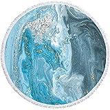 NHhuai Toalla de Playa de Microfibra,Toalla de Piscina Grande Esterilla de Yoga, Seque Rápidamente,Prevención de Arena para Viaje, Picnic Impresión Redonda de la Serie de mármol Pintado