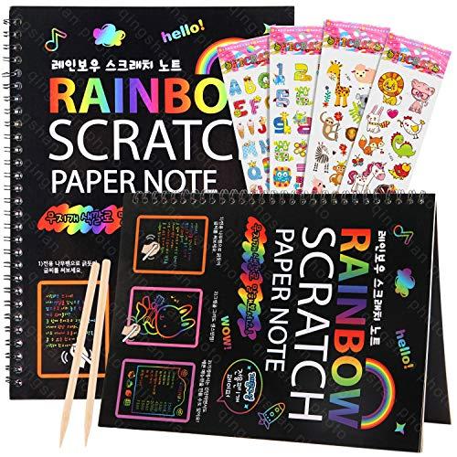 TIPISO Scratch Art Notebooks for Kids - 2 Magic Rainbow Scratch Paper Notebooks, Art Supplies and Craft Kits for Girls...