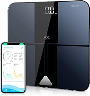 SENSSUN Bluetooth Body Fat BMI Scale, High Precision ITO Coating Bathroom Weight Scale with Smartphone App, Sync with Fitbit, Apple Health and Google Fit,396 lbs, FDA Approved