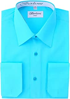 Berlioni Italy Mens Luxe Dress Shirt French Convertible Cuff Button Down Rose