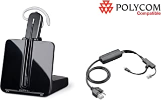 Polycom Compatible Plantronics CS540 VoIP Wireless Headset Bundle with Electronic Remote Answer|End and Ring alert (EHS) for IP 335 430 450 550 560 650 670 | VVX 300 310 400 410 500 600 1500