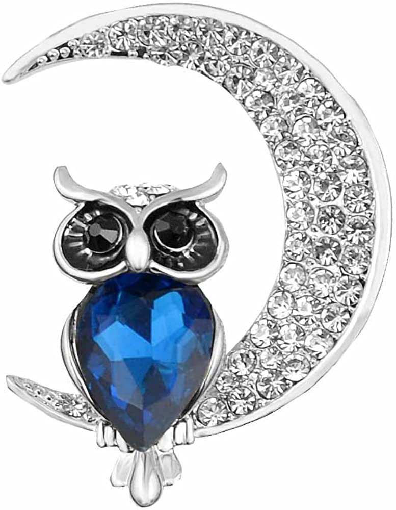 MUZHE Lovely Cartoon Owl Moon Gem Gold Pin for New product! New type New arrival Rhinestone Brooch