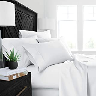 4PCs Sheet set 400 Thread count 100% Cotton Sheet White Solid Full-XL Sheets Long Staple Cotton Fits Mattress Upto 15