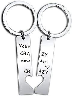 Your Crazy Matches My Crazy Couple Keychain Set Gift for Boyfriend, Girlfriend