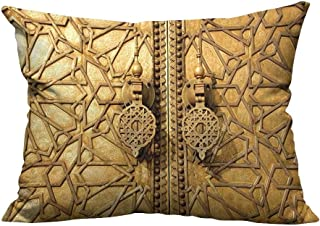 YouXianHome Pillowcase with Zipper Main Golden Gates of Royal Palace in Marrakesh Morocco Travel Tourist Attraction Ultra Soft & Hypoallergenic (Double-Sided Printing) 19.5x54 inch