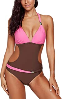 Women Halter V Neck Colorblock One Piece Swimsuit Bathing Suit