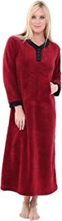 Alexander Del Rossa Women's Warm Fleece Nightgown, Long Kaftan with Pockets
