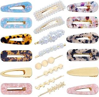 20 PCS Pearls Hair Clips Acrylic Resin Hair Barrettes Hollow Geometric Hair Clip Hairpins for Women and Ladies Headwear St...