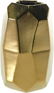 Accent Decor Gold Maven Ceramic Geometric Cylinder Vase - 6