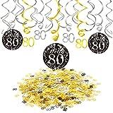 Konsait 80 Anniversaire Guirlande Spirales Suspension Décoration Tourbillon Noir et Or (15pcs), Joyeux Anniversaire & 80 Tableau confettis (1.05 oz), 80 Ans Anniversaire Décoration de Fêtes