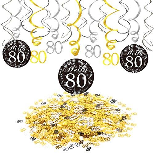 Konsait Kit Decorazioni di Festa di Compleanno di 80 Anni, 80¡ã Compleanno Decorazioni Pendenti spirali turbinanti (15 Counts), Happy Birthday & Numero 80 Coriandoli di Tavolo