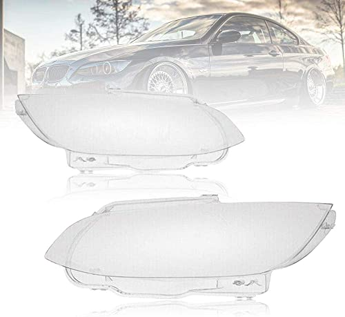 new arrival Pair of Headlight Lens Cover Replacement for 2006-2009 BMW E92 E93 2-Door, 2008-2012 M3, both Driver and Passenger Sides, Clear Lens online with Clean and wholesale Revitalized Appearance (2006-2009 E92 E93) outlet online sale