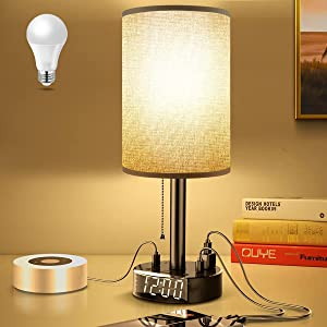 Gray Nightstand Light Lampshade 6ft Plug Extension Cord Dual USB Charging Port AC Outlet, Cylinder Desk Lamp Clock Charger Bedroom Hotel Home School Office Electric Adapter Socket Reading Work Study