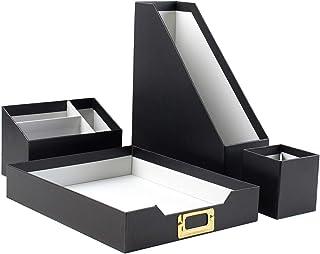 Erin Condren Designer Desk Accessories - Desk Organizer Set (4 Pieces) - Black and Gray, Streamlined Storage for Papers, M...