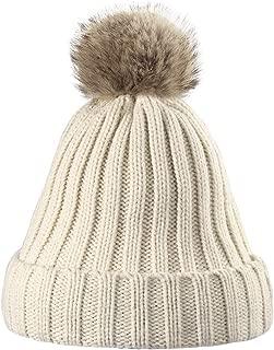 Women Knit Winter Turn up Beanie Hat Faux Fur Pompom Hat for Girls Women