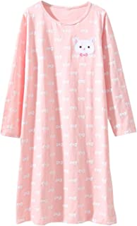 Image of Bow Print and Cute Kitty Cat Nightgown for Girls - Age 3 to 12 Sizes