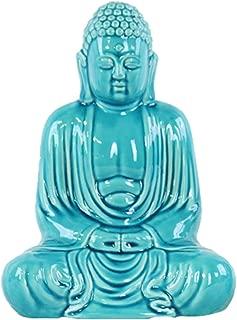 Urban Trends Ceramic Meditating Buddha Figurine with Rounded Ushnisha in Mida No Jouin SM Mudra, Blue