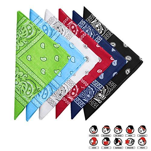 HBselect 6 Piezas Unisex Pañuelos Cabeza Mujer Multicolor Bandana Hombre Cabeza Deportiva Pañuelos Hombre Cuello