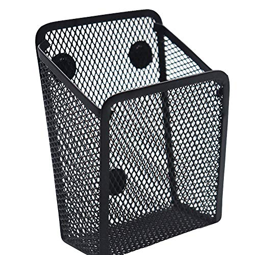 Snow Cooler Magnetic Pencil Holder -Black Generous Compartments Magnetic Storage Basket Organizer - Extra Strong Magnets - Perfect Mesh Pen Holder to Hold Whiteboard Locker Accessories