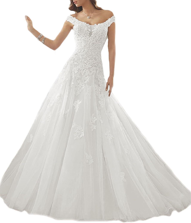 Cdress Women's Lace Mermaid Wedding Dresses  Off Shoulder Vintage Long Bridal Gowns