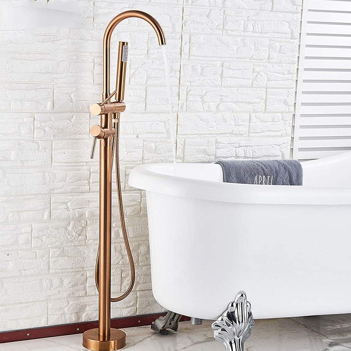 保証金労働玉ねぎ床に取り付けられた浴槽のシャワーの蛇口、ハンドシャワー付きの自立式バスルームのシャワーミキサータップシングルハンドルの浴槽フィラー,Rose gold