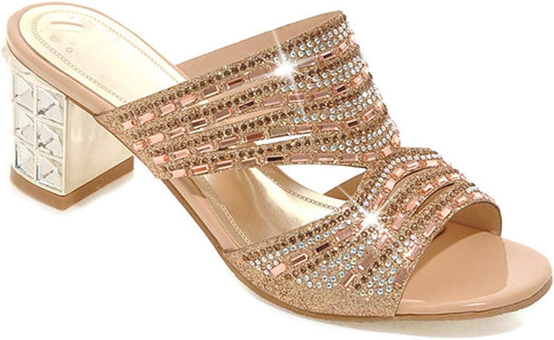 Boom-moon shoes Women Slides Open Toe High Heels Rhinestone Slippers