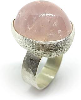 Fantastico e grande anello con prezioso e brillante Quarzo Rosa naturale che misura 21 mm x 18 mm di 51,35 carati. Anello.