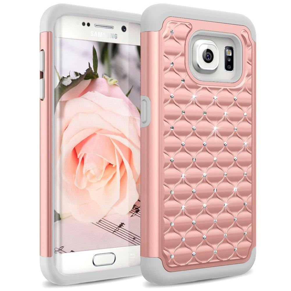 s6 edge plus accessories amazon co ukgalaxy s6 edge case, [studded rhinestone] crystal bling shock absorbing hybrid defender rugged