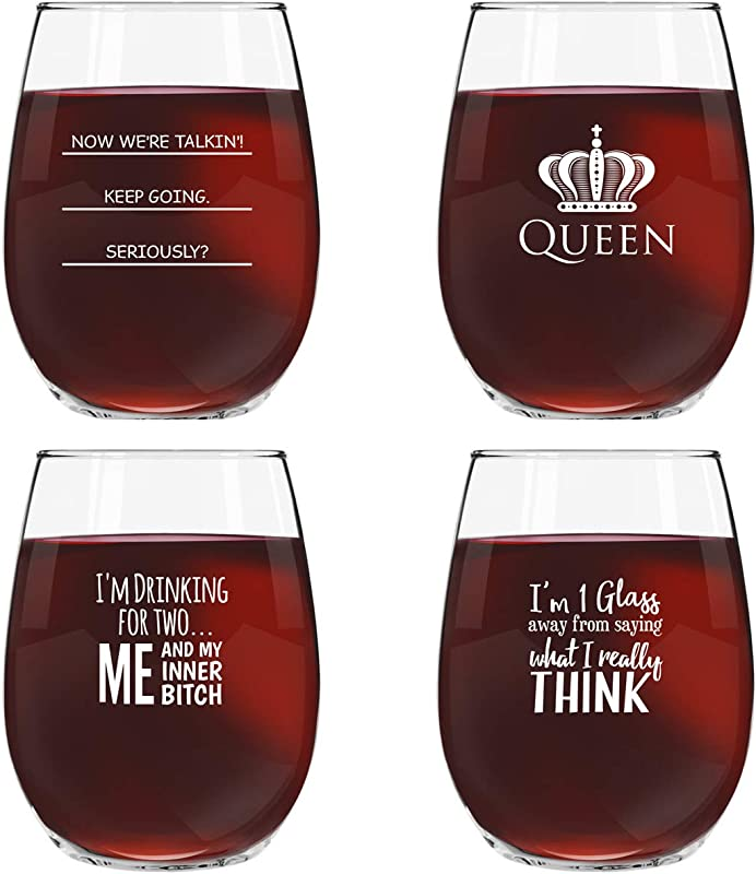 Funny Stemless Wine Glasses Set Of 4 15 Oz Funny Novelty Wine Glassware Gift For Women Party Event Hosting Fun Wine Lover Wine Glass With Funny Sayings